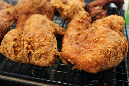 FRIED Chicken-on-rack