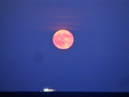 Moon over ocean, Bradley Beach.