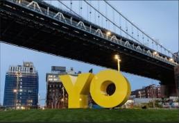 YO/OY sign at Brooklyn Bridge Park.
