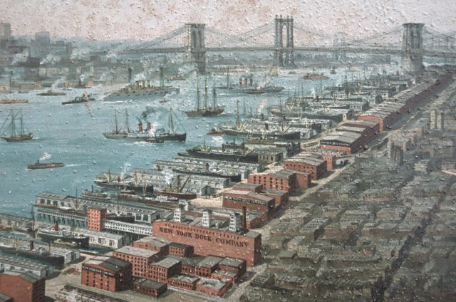 Columbia Waterfront to Brooklyn Heights, New York Dock Company lithograph, 1911