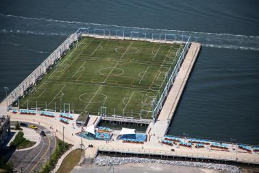 Sports fields at Brooklyn Bridge Park.
