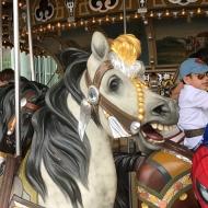 Wooden horse at Jane's Carousel at Brooklyn Bridge Park.