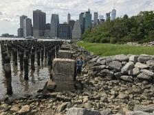 Rocky beach at Brooklyn Bridge Park.