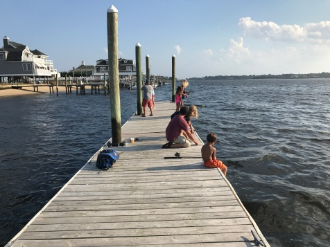 Kids on fishing pier BeachWalk, Sea Bright, NJ.