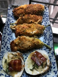 Clams Casino and stuffed zuccini flowers,