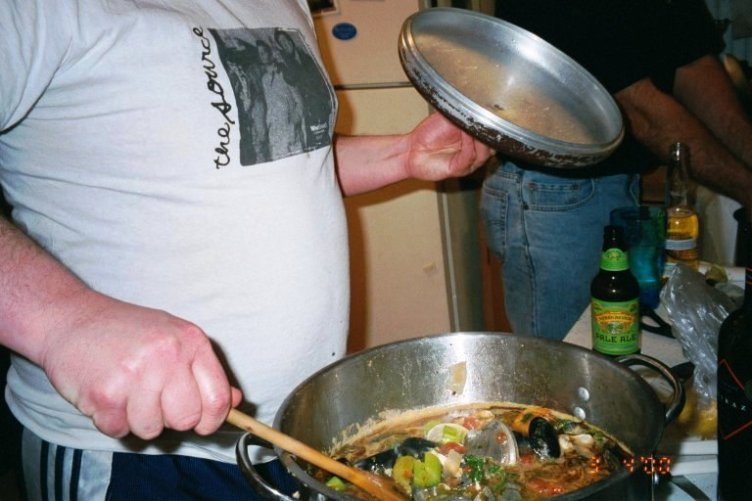 Jim making the clams.