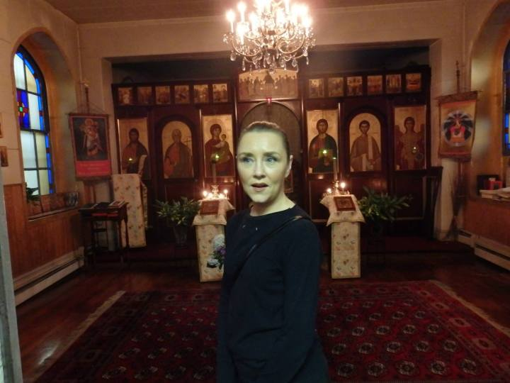 Kelly in church at San Gennaro.