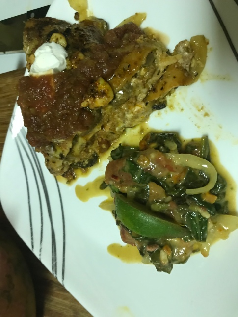 Mexican lasgna with picled veggies.