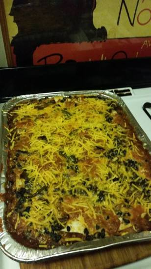 Mexican lasagna large tray.