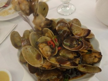 Clams with black bean sauce.