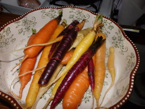 A rainbow of autumn carrots from the farmer's market at Union Square.