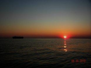 Ship at sunset